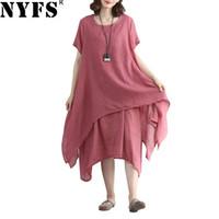 neue leinenkleider großhandel-2018 neues Sommerkleid Baumwollleinen-Dame-beiläufige Frauen kleidet unregelmäßiges Drucken gefälschtes zweiteiliges langes Kleid weibliche Vestidos Robe Y1890704