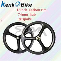 faltrad carbon räder großhandel-SEMA 16Zoll 349 Carbon-Rad Tri-Speichen-Carbon-Rad Hohe Qualität Lebenslange Garantie Radfahren Räder für Brompton Fahrrad und Faltrad