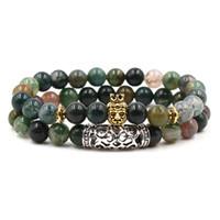 indien perlen großhandel-Indien Achat Stein Perle Klammer 2 Teile / satz Charme Yoga Meditation Chakra Braclet Naturstein Armband
