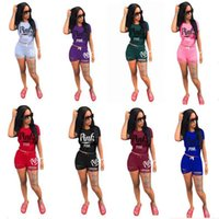 Wholesale Purple Golf T Shirt - PINK Tracksuit Set Women LOVE PINK Short Sleeve T Shirt Tops Tees+Ripped Holes Shorts Outfit Sportswear Jogging Yoga Gym Suit Casual Clothes