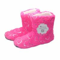Wholesale plush fleece fabric online - 2018 new glitter sequins heart shaped ladies winter home slippers coral fleece indoor cotton shoes Botas female bedroom floor slippers