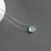 piedra preciosa al por mayor-Thaya Aurora Forest Necklace Halo Crystal Gemstone S925 Silver Scale Light Colgante Collar para Mujer Joyería Elegante