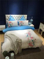 blanco bordado duvet rey al por mayor-Blanco algodón egipcio bordado estilo chino moderno juego de cama reina rey tamaño 4/7 Unids funda nórdica juego de sábanas juego de sábanas