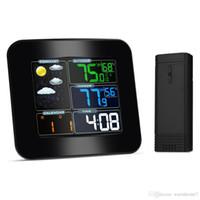 medidores de clima al por mayor-Multifuncional Estación Meteorológica a Color Inalámbrica Medidor Electrónico de Temperatura y Humedad de Temperatura Digital Digital Interior Outdoor Forecast
