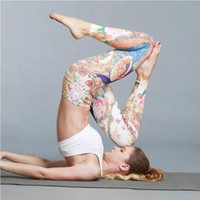 Wholesale high waisted yoga pants resale online - Sports Leggings Women Gym Clothing High Waisted Fitness Tights Yoga Pants Skinny Fitness pants Printed Joggers Gym Trousers Pencil pants