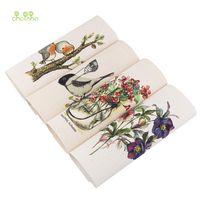 fabric großhandel-Chainho, 4pcs / lot, Hand gefärbt Baumwollleinengewebe ForDIY Sewing QuiltingPatchwork Dekor Tuch des Placemat / Purse / Taschen / Kissen / Kissen