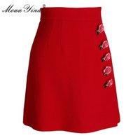 rote wollkurzschlüsse großhandel-MoaaYina 2018 Fashion Spring Damen Roter Wollkurzer Rock Rose Applique Slim Packet hip loveliness Eleganter Roter Wollkurzer Rock
