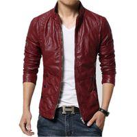 erkek deri ceketleri toptan satış-Erkek Deri Ceket 2017 Sonbahar Kış Slim Fit Faux Deri Ceket Ceket Erkek Kırmızı Rüzgarlık Motosiklet Bombacı Erkekler Süet