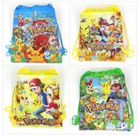 Wholesale Woven Drawstring Backpack Wholesale - Poke go Pikachu drawstring Bags 4 style Free DHL Children cartoon Jeni turtle Sylveon Poke Ball Backpacks non-woven fabrics School Bags