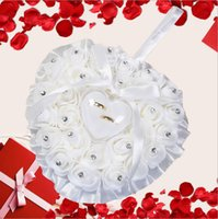 Wholesale Heart Shape Pillow Wedding - Romantic Pink Crystals Rose Flowers Ring Box Heart Shape Cheap Wedding Jewelry Case Ring Bearer Pillow Cushion Holder Ivory Red Ring Pillow