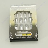 3d pre designed nails NZ - 1pc 3D Pre-design French Acrylic False Nail Tips Silver -Y107