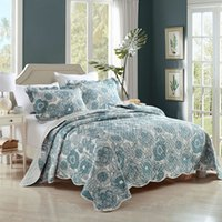 Wholesale king size bedding coverlet online - Hanxiangyiren Handmade Patchwork Quilt Set Bedding Washed Cotton Quilts Quilted Bedspread Cover Bed Sheets King Size Coverlets