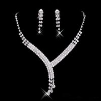 Wholesale accessory online - 2018 new Rhinestone Bridal Jewelry Sets Earrings Necklace Crystal Bridal Prom Party Pageant Girls Wedding Accessories