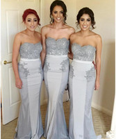 Wholesale Wholesale Lace Bridesmaid Dresses - Cheap silver bridesmaid dresses mermaid long Country lace sweetheart gray Sweep Train sleeveless vintage Party Maid of Honor Gowns