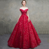 Wholesale french vintage art - 2018 Gorgeous French lace victorian ball gown evening prom dresses off shoulder sleeves v neck lace up corset plus size formal party gowns