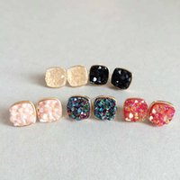 Wholesale Rainbow Druzy - 10 Rainbow Colors 10mm Druzy Silver Golden Plated Small Studs Sequins Square Water-drops Resin Earrings Gemstone Jewelry