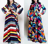 kış için maxi elbiseler toptan satış-Artı Boyutu Kadınlar Çizgili Maxi Elbise Yay ile Sonbahar Kış Fener Kol Colorblocked Gevşek Elbise Kadın Robe Femme FS5114