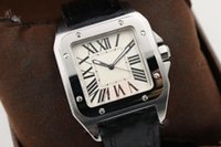 Wholesale mechanical watches skeleton square - Luxury aaa watch Top Quality Cart watch Men White Dial Silver Skeleton Leather Band Square Digital watch Monor Hemmo