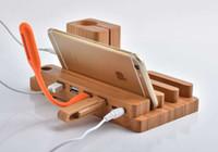 holz iphone halter großhandel-Bambus-Holz 4 USB-Anschlüsse Desktop Universal Ladestation Ladestation Halter für Android Apple Watch iPhone iPad iWatch