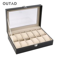 шкафы для ювелирных изделий оптовых-OUTAD 12 Slots Leather Jewelry Holder Tray Watch Box Custom Organizer Storage Display Stand Rack Case Gift Pillow Casket New
