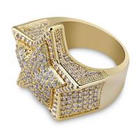 anillos de circonia amarilla al por mayor-Hombres 3D Super Star Gold CZ Bling Bling Anillos 18K Chapado en oro amarillo Iced Out Cubic Zirconia Micro Pave Anillo Hip Hop Joyería con caja de regalo