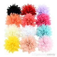 saç tokaları büyük çiçekler toptan satış-Bebek Kız Şifon 9 cm büyük Çiçek Şerit Tokalarım çocuklar Firkete şerit ile Kaplı Klip çocuk saç aksesuarları Lotus bobby pin KFJ10