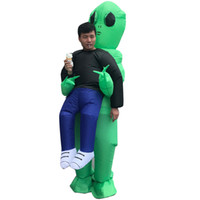 Wholesale free pvc clothes resale online - Halloween Men Women Funny Cosply Costumes Kidnapped by Aliens Wrestler Male Female Party Mascot Costumes Inflatable Clothing