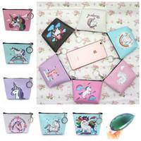 Wholesale key bag zipper online - 12styles Mini Unicorn cartoon Coin Purses girl Zipper Wallet unicorn Wallet Money Bag card Pocket unicorn Key Holder Bag FFA842