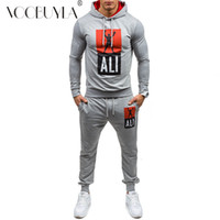 xxl spor salonu toptan satış-Voobuyla Sonbahar erkek Spor Koşu Set Spor Set Koşu Takım Elbise Eşofman Sweatshirt + Pantolon Gym Traning Spor