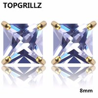 TOPGRILLZ Hip Hop Bling Stud Earrings Gold Silver Color Iced Out Micro Pave 8mm CZ Stone Lab D Earrings With Screw Back