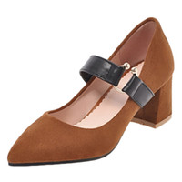 b112733c0acf Smilice 2018 Woman Faux Suede Pumps with Chunky Heel and Pointed Toe  Elegant Working Chic Dressy Shoes with Large Size Available A254