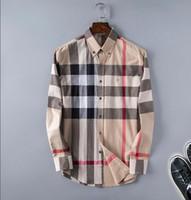 gömlek modasını kontrol et toptan satış-2018 Marka erkek Iş Rahat gömlek erkekler uzun kollu çizgili slim fit masculina sosyal erkek T-Shirt yeni moda adam kontrol gömlek
