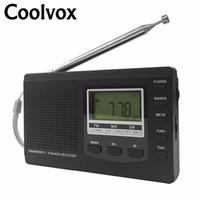 radyo anteni kur toptan satış-Coolvox CRD-310 Taşınabilir Tam bant FM / MW / SW Multiband Stereo Dijital Tuner Kısa Dalga Radyo REC Harici Anten Inşa-Saat