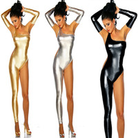 traje de dança de macacão venda por atacado-DJGRSTER Mulheres Pole Dance Costume Lingerie de Látex Sexy Faux Leather Catsuit Preto Bodysuit PVC Olhar Molhado Bandage Metade Jumpsuit