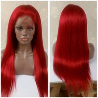 Wholesale Malaysian Full Lace Wigs Red - Red Wig Human Hair Lace Front Wig Peruvian Brazilian Indian Malaysian Straight Hair Glamorous short long Full Lace Wig for black women