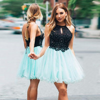 Wholesale mint green prom mini dress resale online - Mint Blue Black Short Homecoming Dresses Lace Tulle Beading Halter Backless Prom Dresses Summer Autumn Party Dresses