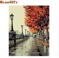 einzigartige malerei kits großhandel-RUOPOTY Herbst Street Landschaft DIY Malerei Von Nüebrs Kit Handgemaltes Ölgemälde Einzigartiges Geschenk Für Wohnzimmer Kunstwerk 40X50 CM