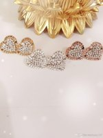 Wholesale White Diamonds Polish - 2018 MK letters popular pierced earrings luxury diamond heart-shaped earrings alloy high polished MK ear nail