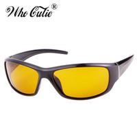 gafas polarizadas amarillas al por mayor-WHO CUTIE 2018 Gafas de visión nocturna polarizadas Gafas para hombres Sport Driving Marco cuadrado negro Gafas de sol amarillas para hombre OM530