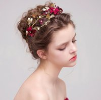 Wholesale red gold ornaments - Red flower bride wedding headdress hair ornaments