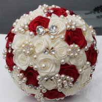 Wholesale wine pearls - Customized Ivory Wine Red Silk Flower Wedding Bouquet Bridal Bouquets Elegant Pearl Bride Bridesmaid Artificial Rose W128-3