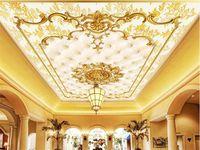 Wholesale vintage gold wallpaper - Custom Photo Wall Paper European Style Gold Pattern Ceiling Murals Hotel Restaurant Living Room Luxury Wallpaper Papel De Parede