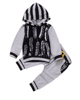 Wholesale Boys Jumpers - 2018 new designs spring autumn kids clothes sets boys feather print hooded jumper top with long trousers 2pcs suits