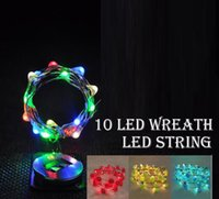 Wholesale Copper Wreath - 10led 55cm LED String wreath luminous Waterproof Copper Wire String Holiday Outdoor Fairy Lights For Christmas Party Wedding Decoration lamp