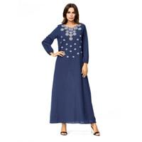 i̇slami arapça kadın giysileri toptan satış-Kadın Nakış müslüman arap elbise derin mavi artı türk elbisesi Dubai fas Kaftan İslam Abaya müslüman giyim jalabiya