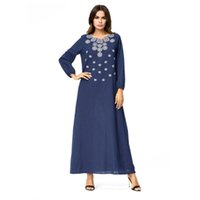 vestidos de jalabiya venda por atacado-Mulheres Bordado vestido árabe muçulmano azul profundo além de vestido turco Dubai Kaftan marroquino Abaya Islâmico roupas muçulmanas jalabiya