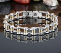 Wholesale Bicycle Jewelry Women - Fashion Stainless Steel gold Bracelet Men Women Biker Bicycle Motorcycle Chain titanium steel lover Bracelets Bangles Jewelry 17cm-22cm