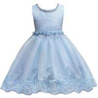 vestido de princesa cielo al por mayor-Cute Sky Blue Little Kids Infants Vestidos de niña de flores Princesa Cuello corto Vestidos formales para bodas Vestido de primera comunión MC0817