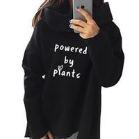 mode süße kapuzenpullis großhandel-2018 neue Mode angetrieben durch Pflanzen Vegan Print Sweatshirt Femmes Hoodies Frauen Mädchen Hoody Harajuku Street Sweet Pullover