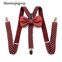 ingrosso abiti da bowtie-Mantieqingway Unisex Dot Regolabile Y bretelle posteriori Bowtie Set per uomo e donna Moda camicia Bretelle elastiche Cintura donna Cravatte